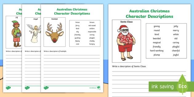 Australian Christmas Character Description Worksheet   Worksheets