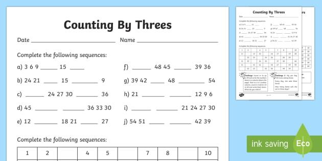 Counting By 3s Worksheet   Worksheet