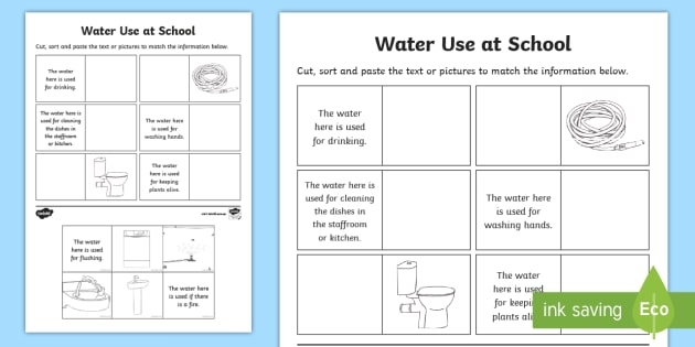 Water Use At School Worksheet