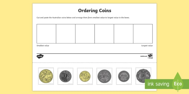 Australian Coin Ordering Cut And Paste Worksheet   Worksheet