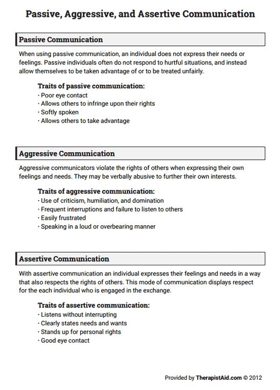 Passive, Aggressive, And Assertive Communication (worksheet
