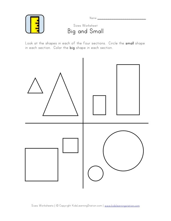 Big And Small Worksheet