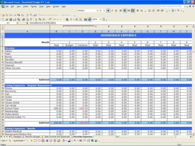 Budget Income And Expenses Eadsheet Expense Template For Small