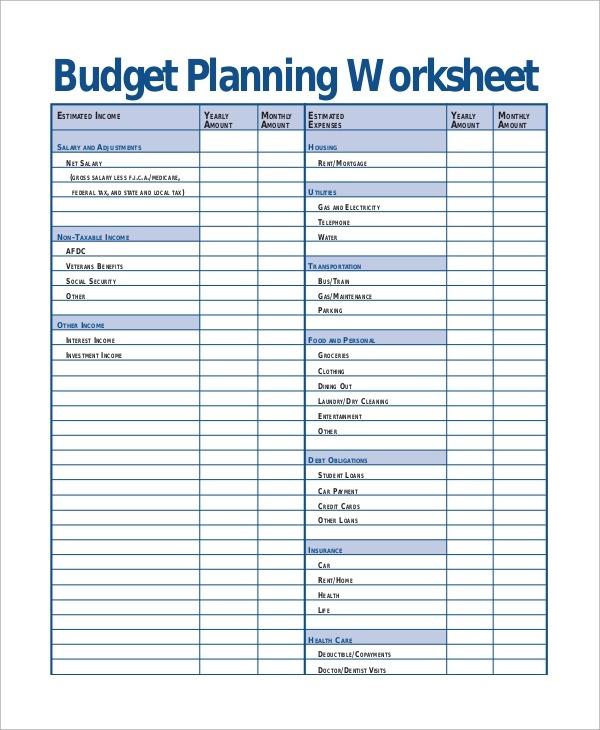 Printable Budget Worksheet Sample