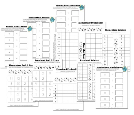 Free Math Worksheets  Dice & Domino Math Games