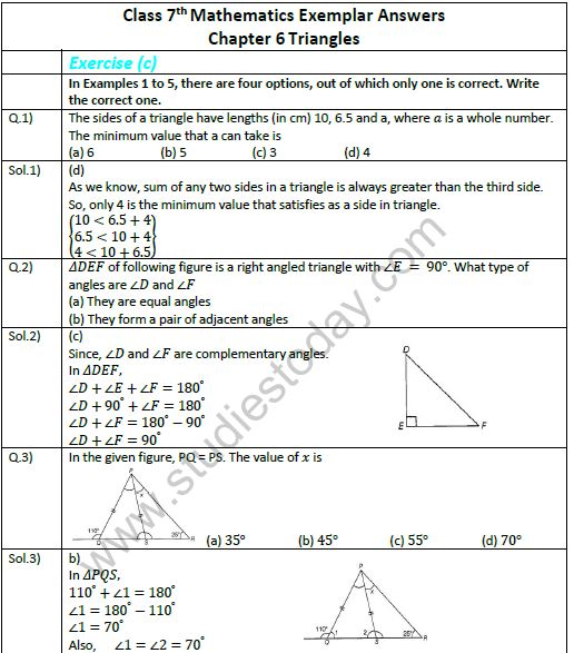 Cbse Class 7 Mathematics Triangles Exemplar Solutions