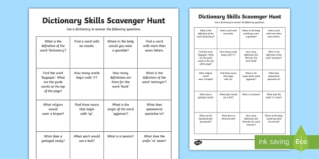 Dictionary Skills Scavenger Hunt Worksheet
