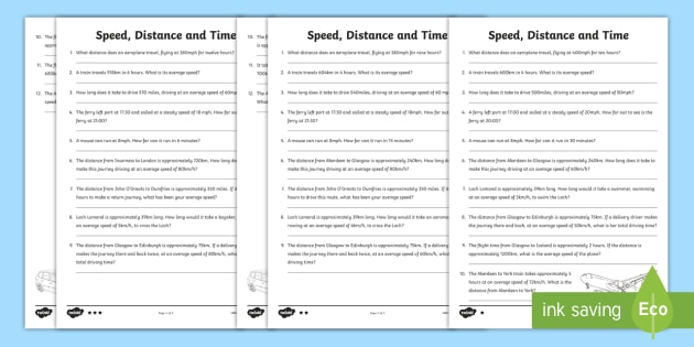 Speed, Distance, Time Differentiated Worksheets