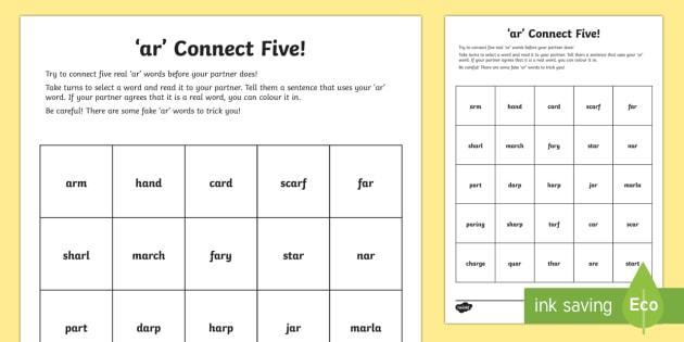 Ar' Sound Connect Five Worksheet   Worksheet
