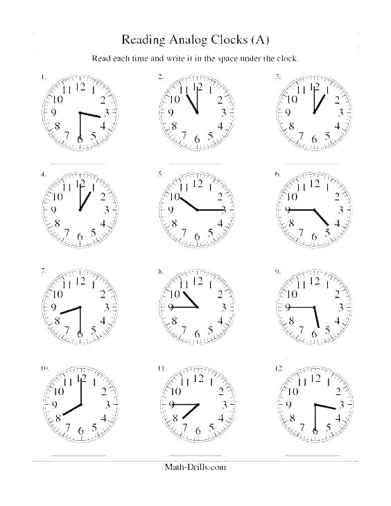 Clock Practice Worksheets 2nd Grade Telling Time For Interior