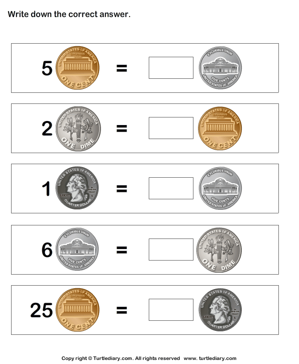 Coin Match Worksheet