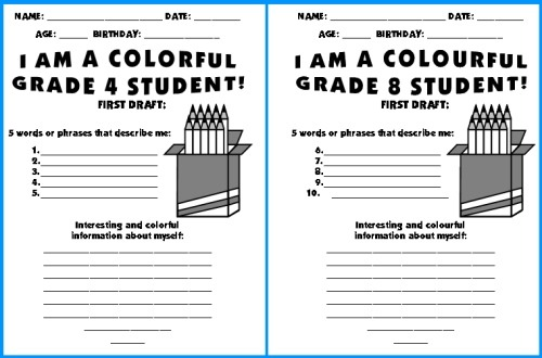 Color Pencil Templates  Writing Topic  We Are Colorful Students