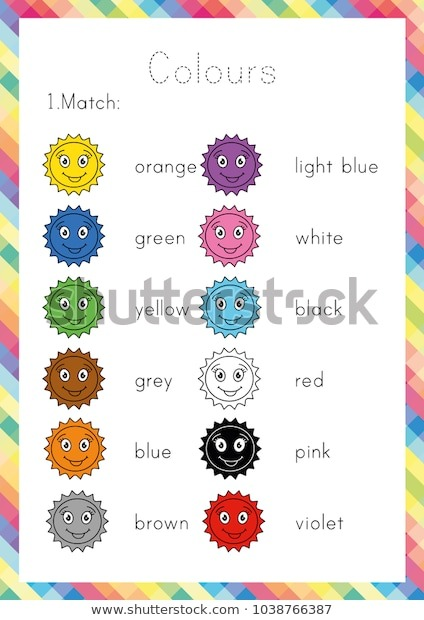 Colours Worksheet Learning English Young Learners Stock Vector