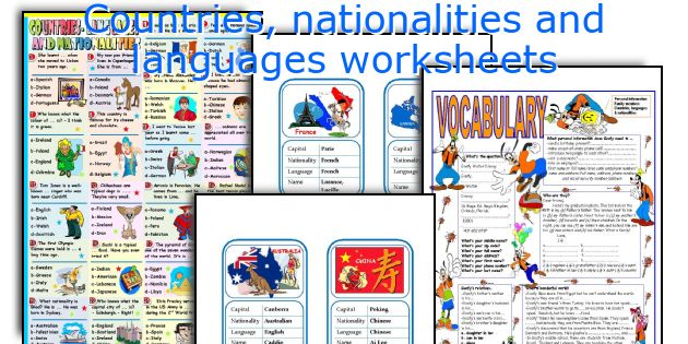 Countries, Nationalities And Languages Worksheets