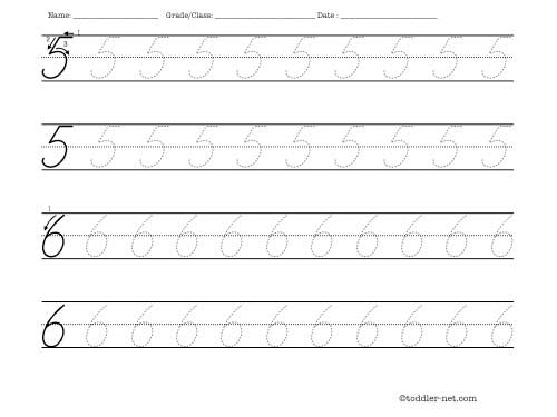 Tracing Worksheet  Cursive Numbers 5 And 6