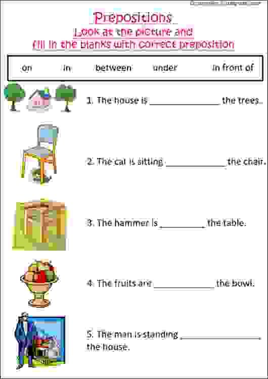 English Grammar Worksheet With Pictures To Practice Preposition