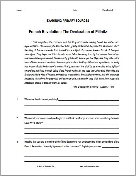 Declaration Of Pillnitz Dbq Worksheet