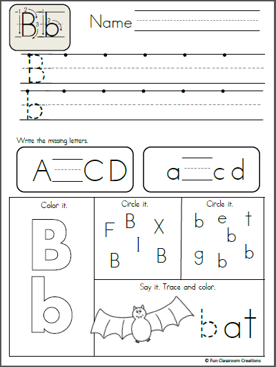 Free Alphabet Letter B Writing Page