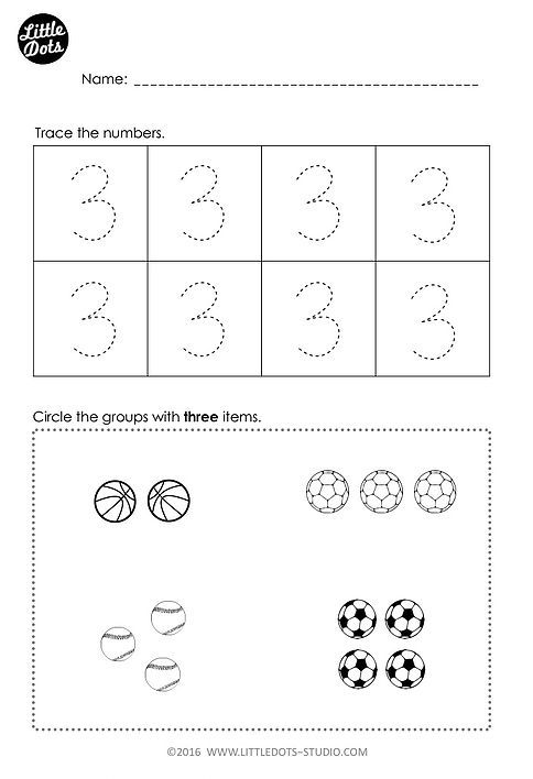 Free Number 3 Worksheet For Pre
