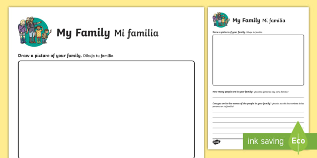 All About My Family Worksheet   Worksheet English Spanish