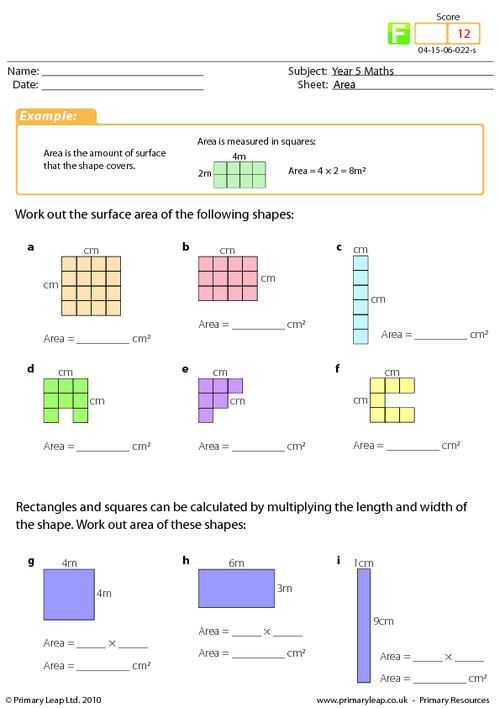 Year 4 Maths  Area Worksheet