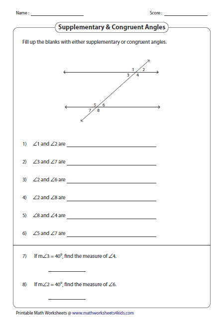 Supplementary And Congruent Angles
