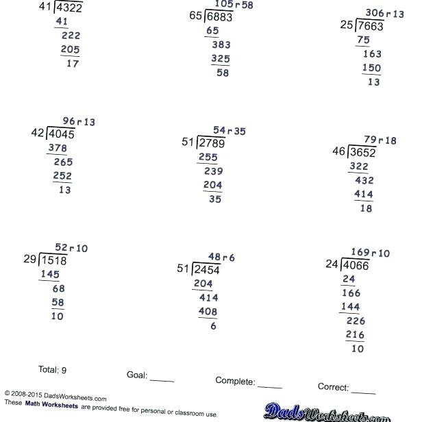 Free 5th Grade Division Worksheets Download By Tablet Desktop