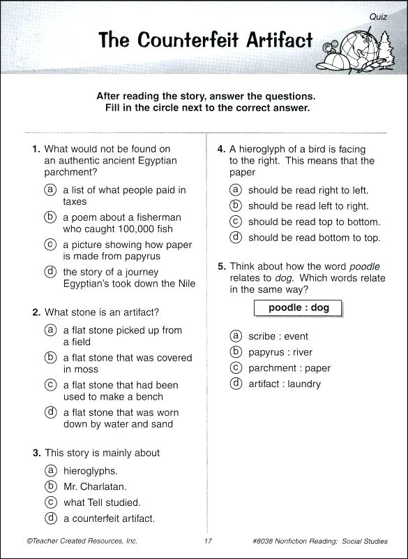 Free 9th Grade Reading Comprehension Worksheets Kindergarten