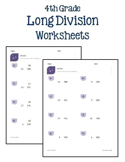 Free Division Worksheets For 4th Grade – Csdmultimediaservice Com