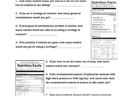 Free Nutrition Worksheets The Nutrition Theme Unit And Worksheets