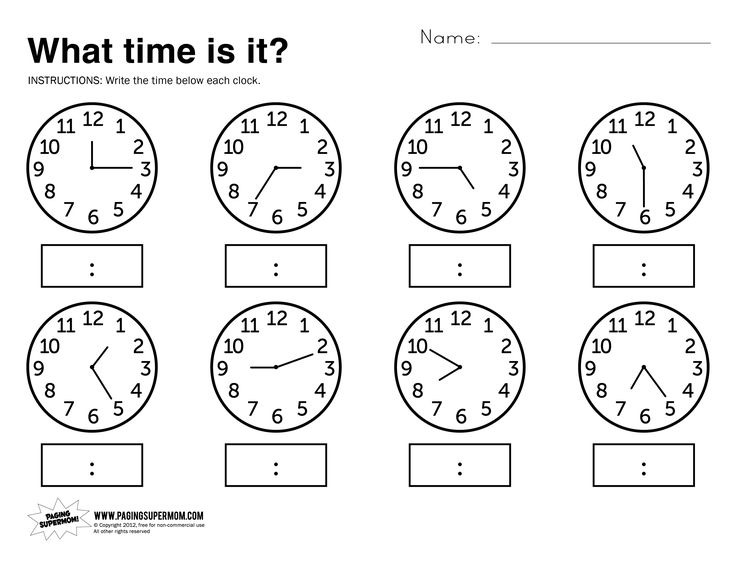 Free Printable Math Worksheets For Telling Time