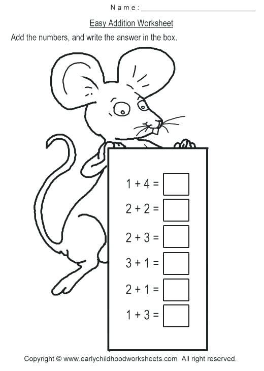 Free Simple Addition Worksheets For Kindergarten