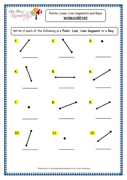 Grade 3 Maths Worksheets  (14 1 Geometry  Points, Lines, Line