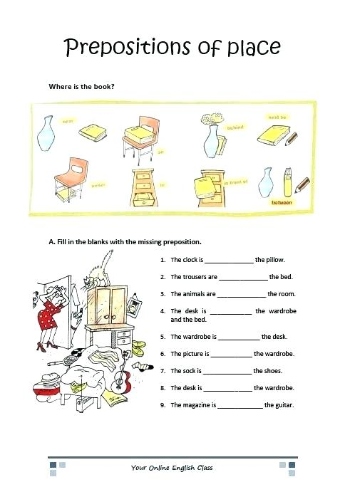 Grammar Prepositions Of Place Worksheets For Kids Ell Preschool