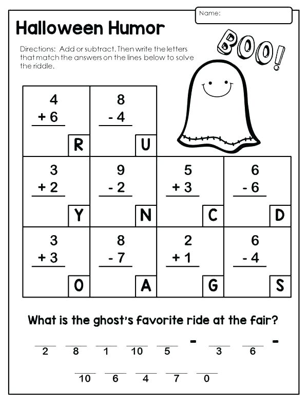 Halloween Math Worksheets Middle School