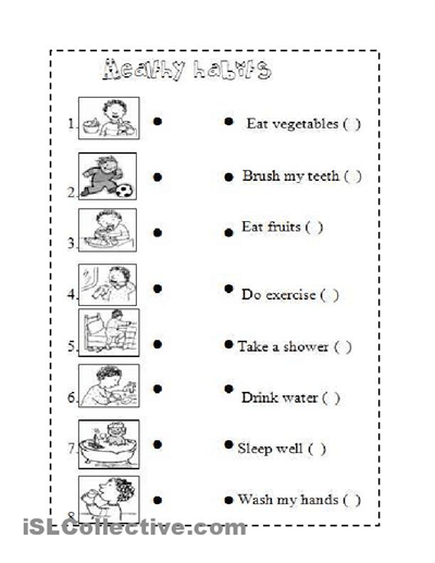 Healthy Habits Worksheets