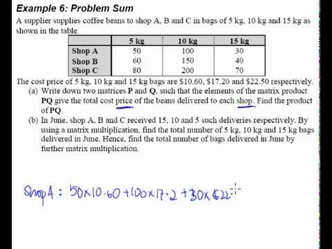 Matrices Example 6 Word Problem