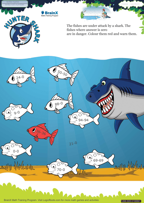 Hunter Shark Math Worksheet For Grade 2