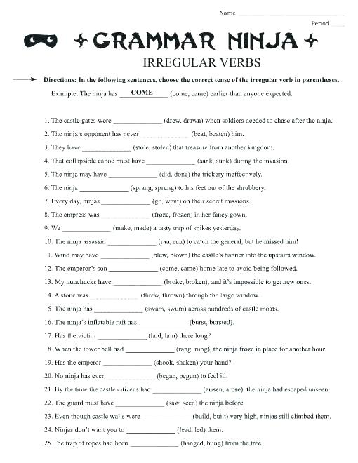 6th Grade Verb Worksheets – Egnyte Co