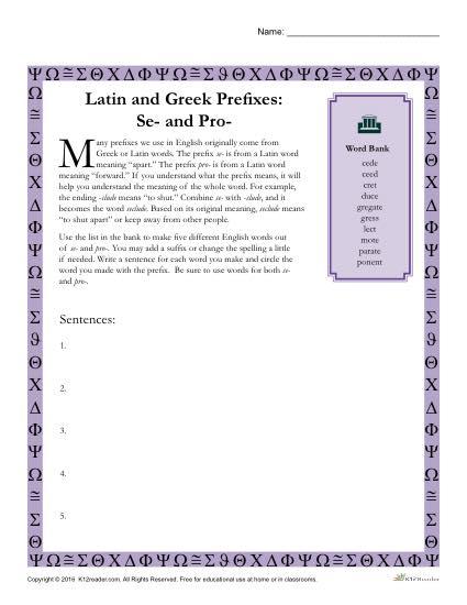 Greek And Latin Prefixes  Se