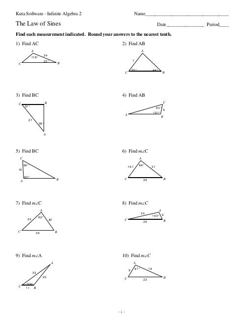 Law Of Sines Worksheet Law Of Sines Kuta Software Template
