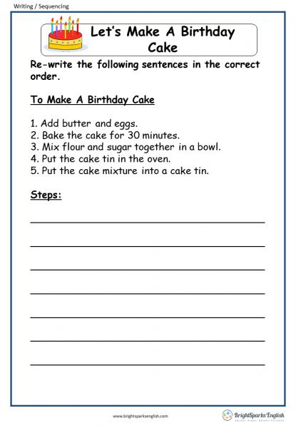 Let's Make A Birthday Cake English Writing Worksheet – English