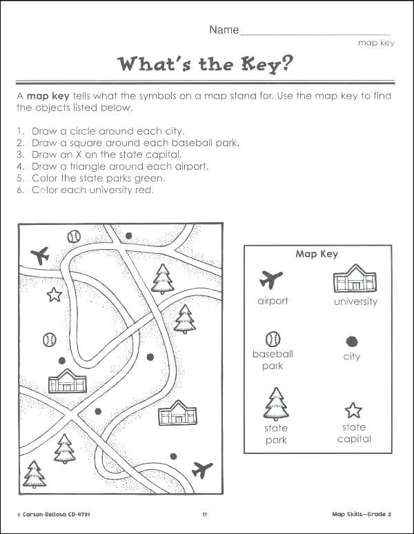 Map Skills Worksheets 3rd Grade