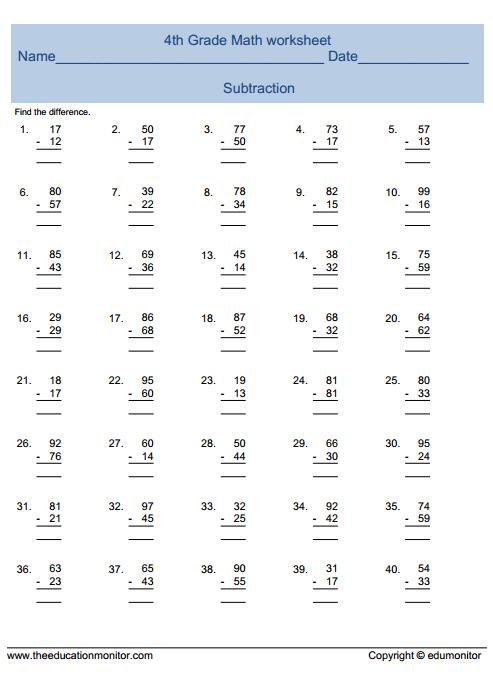 Math Worksheets For Fourth Grade Printable