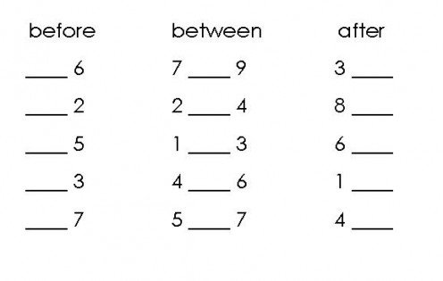 Math Worksheets Numbers Before After Between