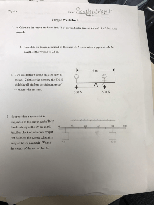 Physics Name Period Torque Worksheet A Calculate T