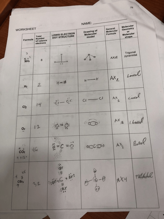 Solved  79 Name Worksheet Molecular Molecular Geometry Mol