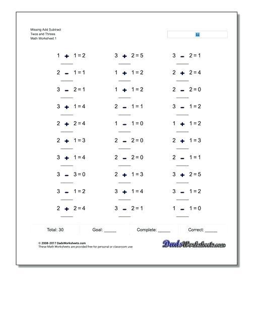 Missing Number Subtraction Worksheets Addition Worksheet And