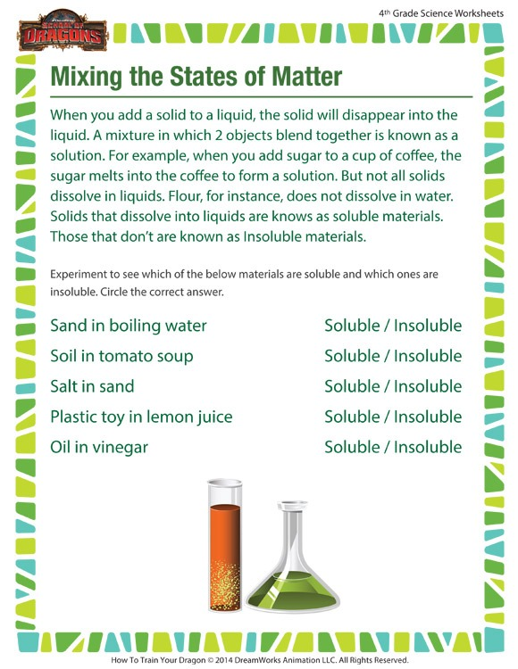 Mixing The States Of Matter Worksheet – 4th Grade Printable – Sod