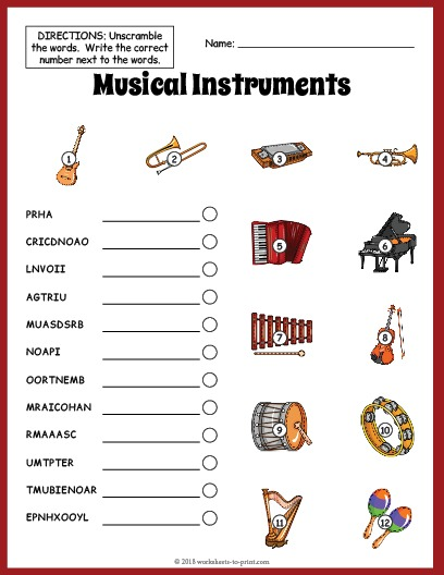 Musical Instruments Vocabulary Worksheet